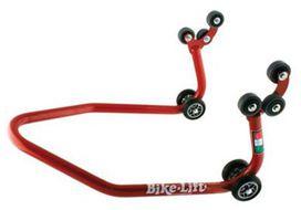 Bequille arriere rouge pour quad, avec roulettes caoutchouc
