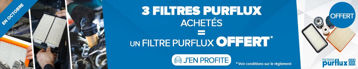 3 filtres PURFLUX achetés = 1 filtre PURFLUX offert *
