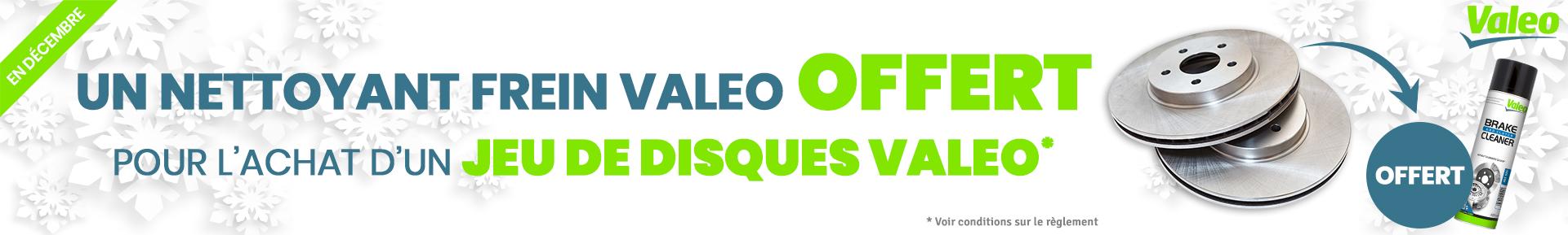 Un nettoyant frein VALEO offert pour l'achat d'un jeu de disques VALEO *