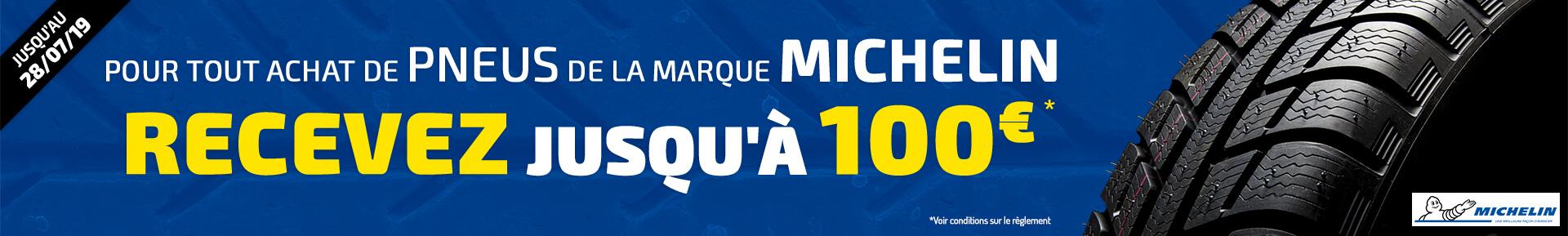 Pour tout achat de pneus de la marque MICHELIN, recevez jusqu'à 100€ *