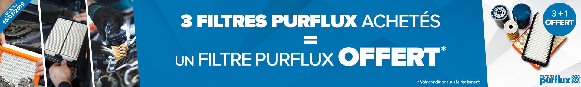 3 filtres PURFLUX achetés = 1 filtre à huile PURFLUX offert *
