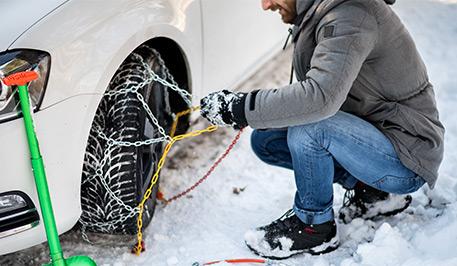 Utilisation des chaînes à neige